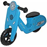 Draisienne en bois style Vespa - vélo d'équilibre - enfant - rose/bleu