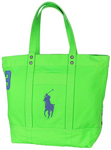 Polo Ralph Lauren Big Pony Canvas Tote Bag-Ultra Lime