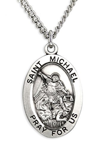 mens-st-michael-sterling-silver-oval-pendant-24-inch-endless-stainless-steel-chain-by-heartland-stor