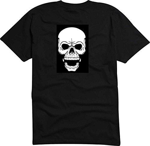 T-Shirt-Camiseta-D817-Hombre-negro-con-la-impresin-en-color-M-diseo-Tribal-cmico-abstracto-grfico-rugido-crneo-calavera