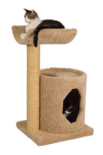 "Molly and Friends ""Cradle Condo"" Premium Handmade 2-Tier Cat Tree with Sisal, Model 36, Beige"