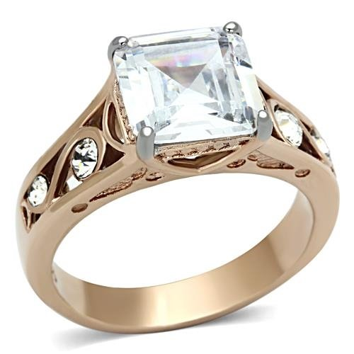 Women'S Rose Gold Tone Lust Cubic Zirconia Engagement Ring - Size 5