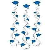 Printed Grad Cap Whirls (blue)(3/Pkg)