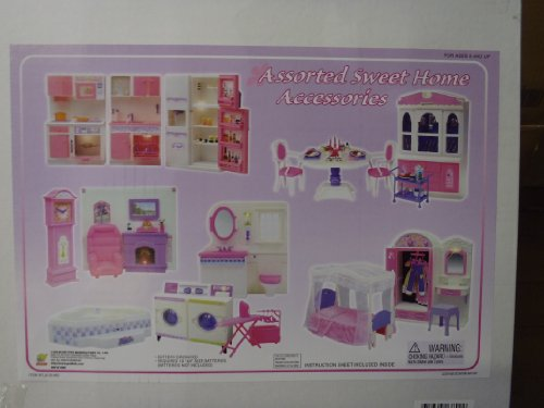41uEVexHXyL Cheap Buy  Barbie Size Doll House Dollhouse Furniture 5 Rooms w/ Lights and Sound