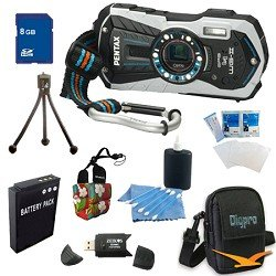 Pentax Optio WG-2 GPS White Adventure Series 16 MP Waterproof Digital Camera with 5 X Optical Zoom and GPS Super Bundle