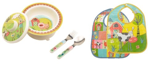 Sugarbooger Covered Bowl, Silverware, and 2 Bibs Set-Farm