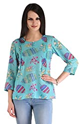 ZAIRE Women's Fashionable Printed 3/4 Sleeves Semi-Georgette Top (1778-3/4TH,Turquoise,S)