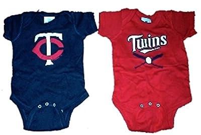 Minnesota Twins MLB Newborn Creeper Home and Away Set USA Printed (0-6 Months)