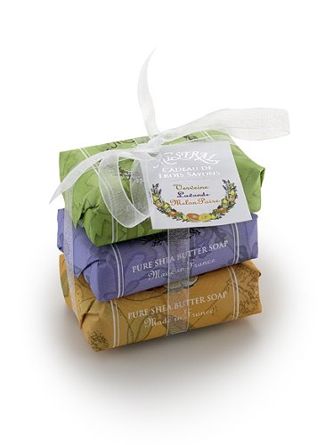 Mistral Soap Pack with a Bow, 3 - 100 g paper wrapped soaps: Verbena, Lavender, Melon Pear - Buy Mistral Soap Pack with a Bow, 3 - 100 g paper wrapped soaps: Verbena, Lavender, Melon Pear - Purchase Mistral Soap Pack with a Bow, 3 - 100 g paper wrapped soaps: Verbena, Lavender, Melon Pear (Bath & Shower)