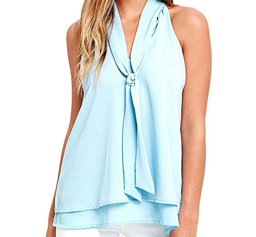 YeeATZ Double Cascading Ruffle Neck Tie Sleeveless Top(LightBlue,S)