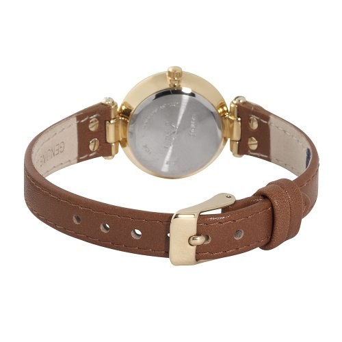 Galleon anne klein women 39 s 109442chhy gold tone champagne dial and brown leather strap watch for Anne klein leather strap