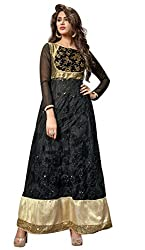 Adaa Women's Chiffon Semi Stitched Dress Material (G-MY-07_Black_Free Size)
