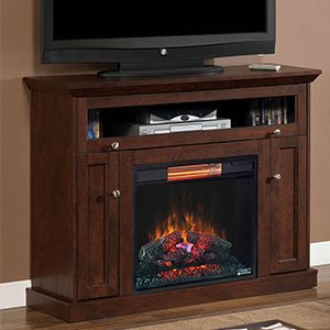 Classicflame Windsor Wall Or Corner Infrared Electric Fireplace Media Cabinet In Antique Cherry - 23De9047-Pc81