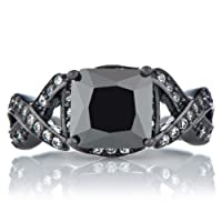 Millicent's Black Engagement Ring - Princess Cut Faux Black Diamond by Emitations
