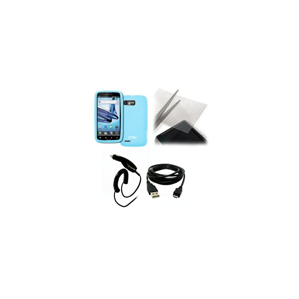 EMPIRE Motorola Atrix 2 Light Blue Silicone Skin Case Cover + Universal Screen Protector + Car Charger (CLA) + USB Data Cable [EMPIRE Packaging]