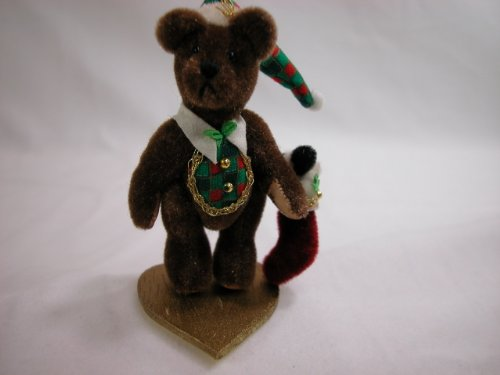"World of Miniature Bears2.75"" Plush Christmas Bear Wally #612 Collectible Miniature Made by Hand - 1"