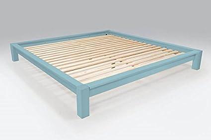 ABC MEUBLES - Cama de matrimonio King Size 200 x 200 cm madera - KING200 - Azul pálido, 200x200