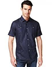 Autograph Luxury Linen Blend Short Sleeve Shirt
