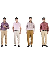TruSo Men's Pack Of 4 Slim Fit Chinos (Light Beige, Beige, Khaki, Brown)