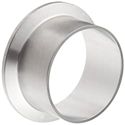 Dixon L14AM7-R200 Stainless Steel 316L Sanitary Fitting, Long Weld Clamp Ferrule, 2 Tube OD