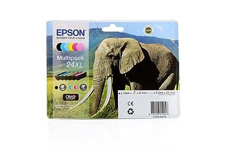 Epson Expression Photo XP-850 - Original Epson C13T24384010 / 24XL - Cartouche d'encre Multipack (C,M,Y,K,LC,LM) 6 pièces - 1 x 10 & 2 x 9,8 & 3 x 8,7 ml