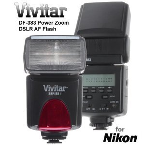 Vivitar DF383 Digital TTL Shoe Mount Power Zoom /Swivel /Bounce Auto-Focus Flash for Nikon TTL, Guide Number 45m (147')