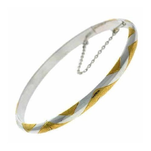 Vermeil (24k Gold over Sterling Silver) and Sterling Silver Zig Zag Bangle