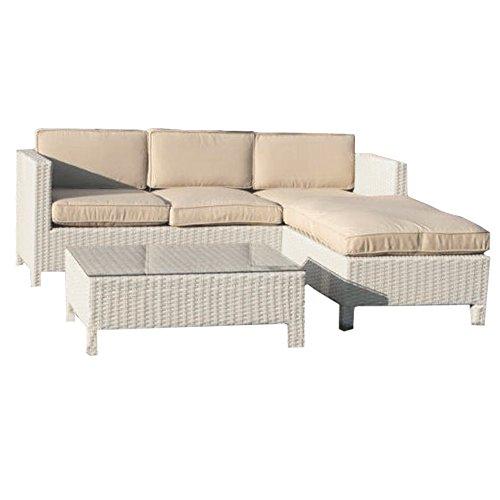 Salotto salottino in polirattan divano pouf tavolino bianco + cuscini M0857-08