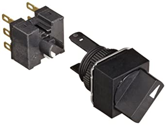 Omron A165S-A2M-2 Knob Type Selector and Switch, Solder Terminal, IP65 Oil-Resistant, 16mm Moutning Aperture, Non-Lighted, 2 Notches, Manual Reset Method, Square, Double Pole Double Throw Contacts