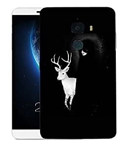 Snoogg White Deer With Black Lady Designer Protective Back Case Cover For LETV LE MAX 2