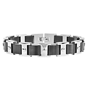 Inox Jewelry Stainless Steel with Interchanging Black and Silver Link Bracelet For Men available at Amazon for Rs.3505