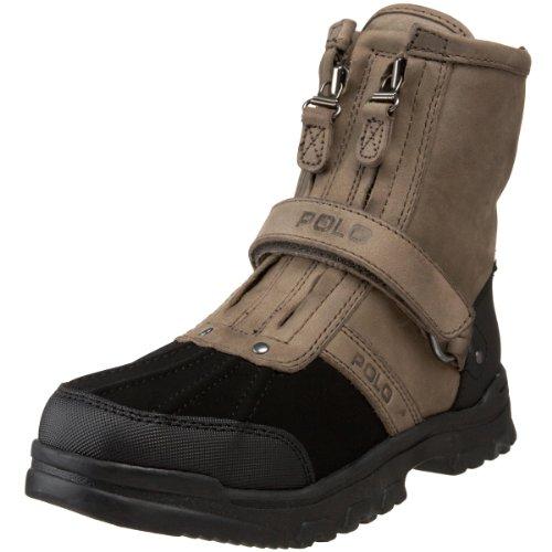 Polo By Ralph Lauren Conquest Hi II Boot ,Black Nubuck-Charc
