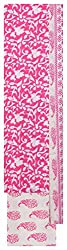 Mahek Fashion Women's Cotton Unstitched Dress Material (Pink and White)