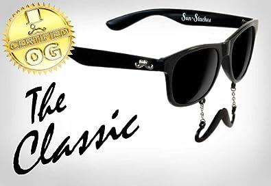 New Vintage Style Wayfarer Mustache Sunglasses Black Frame & Lenses (Style 3)