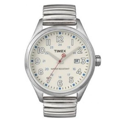 Timex Original Men's Quartz Watch with Beige Dial Analogue Display and Silver Bracelet T2N309ZB