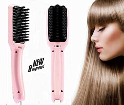 Hair Brush Straightener-Anti Static Ceramic Heating Detangling Hair Comb-Instant Silky Straight Hair Styling Straightening Iron PTC Heating 2.0 Anion for Faster Straightening (Pink)