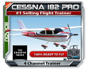 The Sharper Image Cessna 182 Pro Series Electric RTF Rc Plane w/ 2.4 Radio