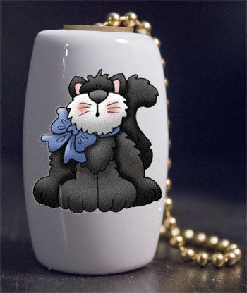 Black Cat with Blue Bow Porcelain Fan / Light Pull