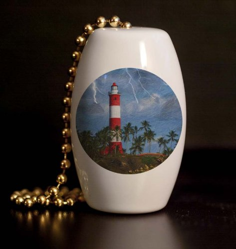 Lighthouse Storm Porcelain Fan / Light Pull (Lighthouse Fan Pulls compare prices)