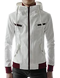 (LCJ10) TheLees Double Zipper Hood Jacket WHITE US L(Tag size 2XL)