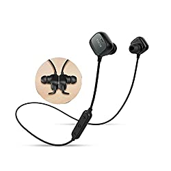 QCY QY12 Waterproof Wireless Bluetooth Headphones with Mic and Magnet Switch on off for Outdoor Activities Sports Driving Sweatproof Double Earphone for Tablet Cell Phone Headset