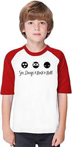 Sex Drugs And Rock'N'Roll Soft Material Baseball Kids T-Shirt by True Fans Apparel - 100% Organic, Hypoallergenic Cotton- Casual & Sports Wear - Unisex for Boys and Girls 12-14 years