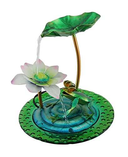 Blooming Blossoms Colorful Metal and Glass Desktop Fountain (Blue) (Frog Tabletop Fountain compare prices)