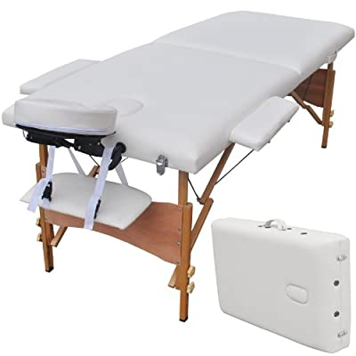 Goplus Portable Massage Table W/free Carry Case U1 Professional Therapy SPA Bed Black/white