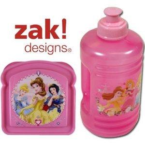Disney Princess Lunch Set (Water Bottle & Sandwich Box) (Pink) front-987195