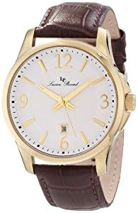 Lucien Piccard Men's 11566-YG-02 Adamello White Textured Dial Brown Leather Watch