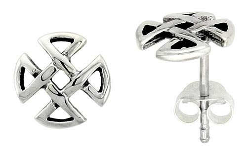 Sterling Silver Quaternary Celtic Knot Stud Earrings, 1/4 inch (7 mm)