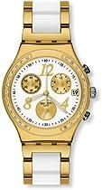 Swatch Irony Dreamwhite Yellow Chronograph Gold-Tone Steel Ladies Watch YCG407G
