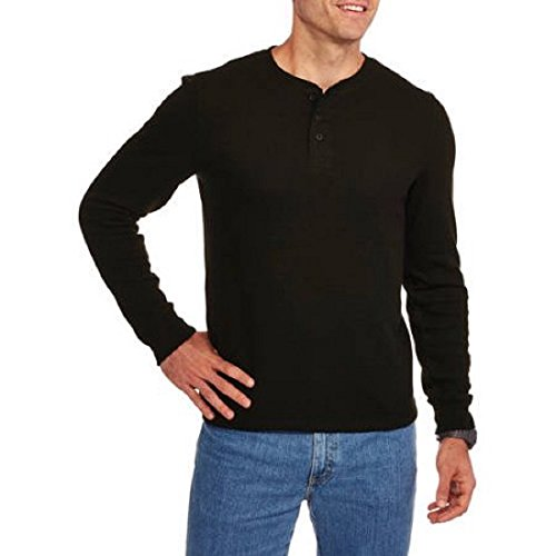 Faded Glory Men's Long Sleeve Waffle Thermal Henley Top / Shirt (L, Black Soot) (Faded Glory Tops compare prices)