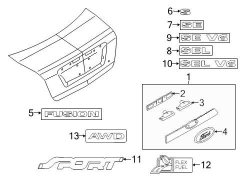 Ford AE5Z-5442528-C - ORNAMENT - TRIM PANE (Ford Fusion Trunk Emblem compare prices)
